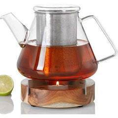 Glass Teapot + Warmer Stand, 50 oz