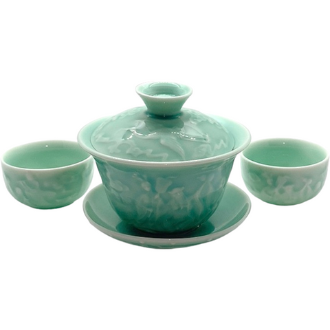 Gaiwan Set, Crane Design & 2 Cups, 5oz -NEW!