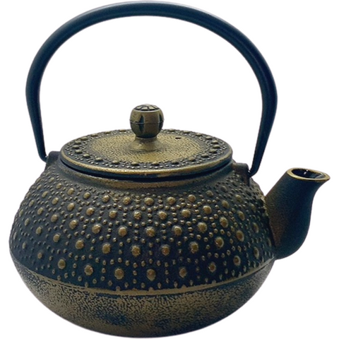 Teapot, Iron, Brown & Gold Pattern, 34oz -NEW!