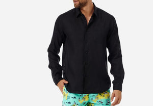 Vilebrequin Caroubis Black men's linen shirt long sleeve