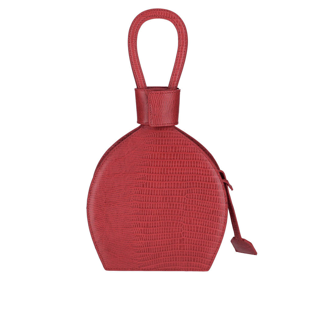 A party bag with ethical leather, ATENA ROSSO LIZARD PURSE-SLING BAG, a hot red bag, hot red purse, with lizard look from MDLR