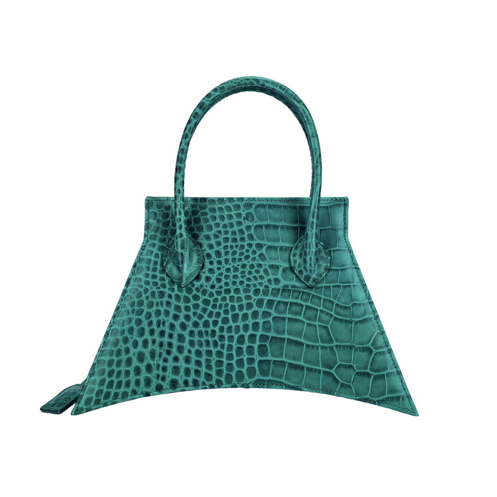 Italian suede leather with croc look and feel, MICRO BLANKET EMERALD CROC is a micro green bag, small bag with fashionable and statement look from MDLR