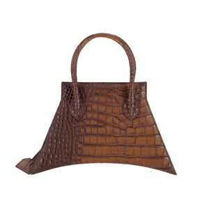 Italians materials with fashionable look and feel, MICRO BLANKET WHISKEY CROC is a micro brown bag, small bag with a croc look from MDLR