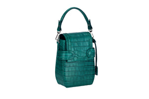 OCTAVIO EMERALD CROC 4 WAY BACKPACK
