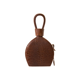 A party bag with boss look, ATENA WHISKEY CROC PURSE-SLING BAG, a brown bag, brown handbag, with croc look from MDLR