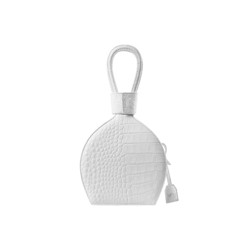 A party bag with boss look, ATENA OPTIC WHITE CROC PURSE-SLING BAG, a white bag, white handbag, with croc look from MDLR