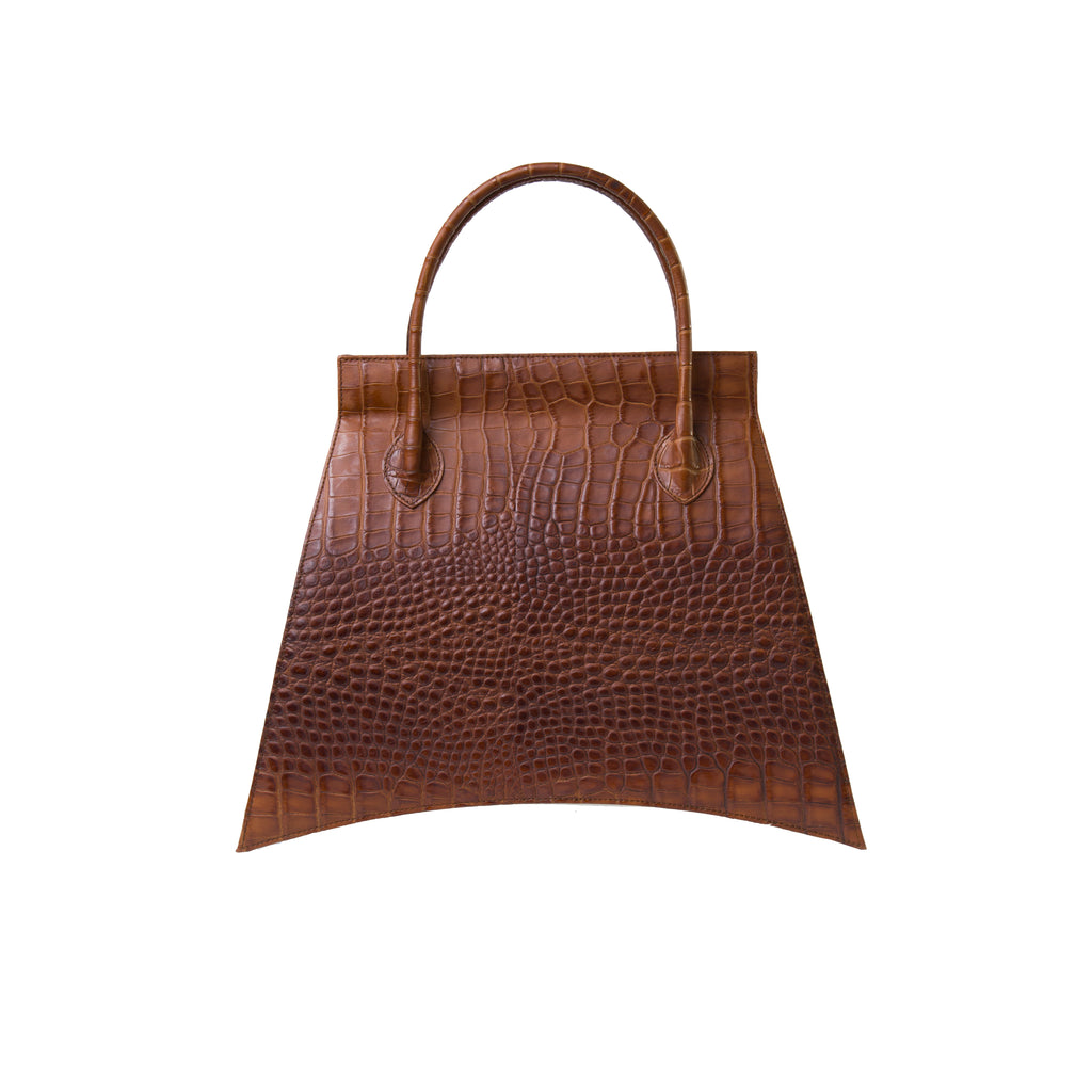 A statement bag with Italian crafts in mind, MIDI BLANKET WHISKEY CROC is a brown tote bag with a croc look from MDLR