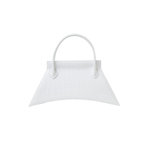 A statement bag with Italian crafts in mind, MINI BLANKET CROC OPTIC WHITE is a white mini bag, small bag with a croc look from MDLR