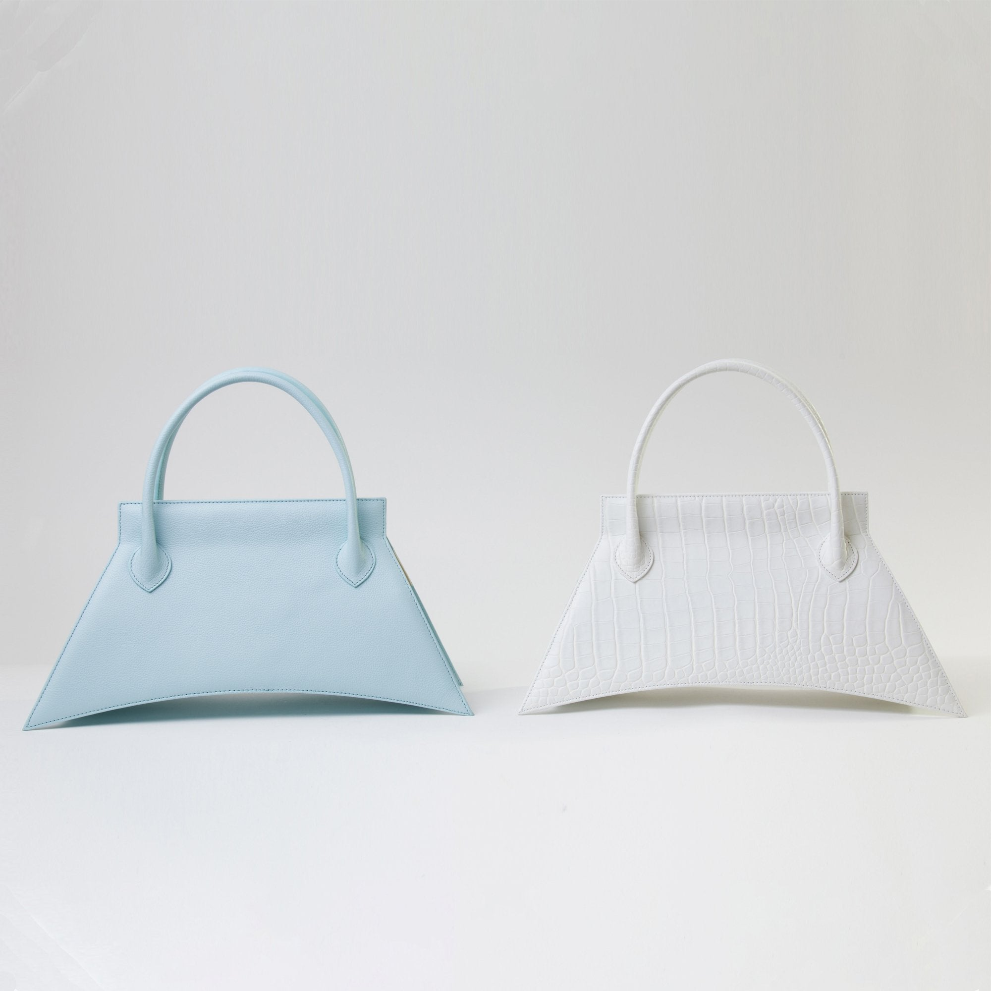 Collection of MINI BLANKET Bag, a party bag with minimalist look and available in brown and white croc variants