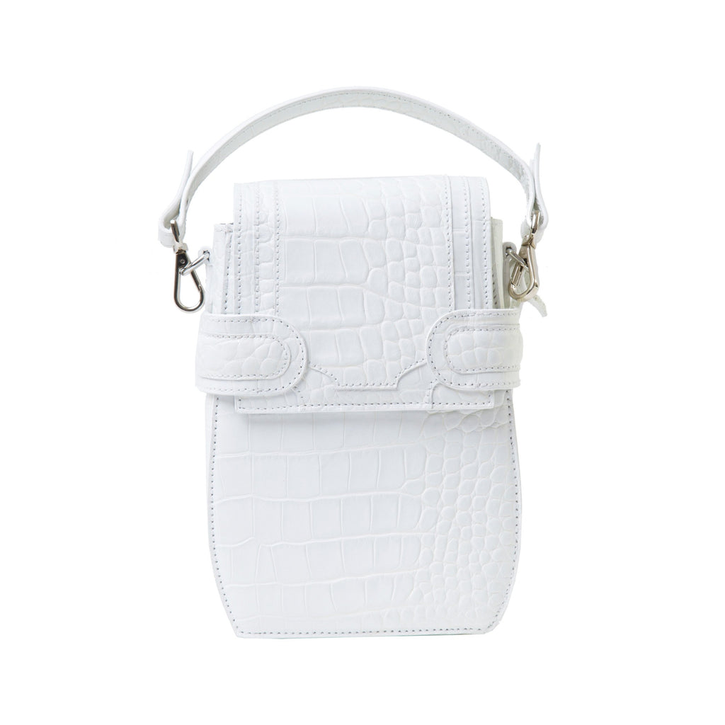 Italian materials and handcrafted in Portugal, OCTAVIO OPTIC WHITE CROC 4 WAY BACKPACK is a cute white backpack with croc look and feel by MDLR