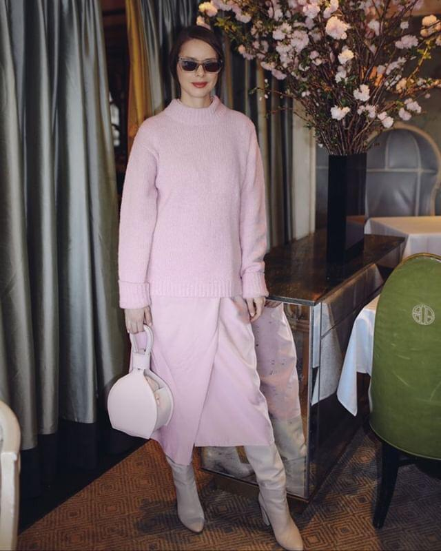 A woman in pink carrying ATENA PINK PURSE-SLING BAG, a pink bag, pink handbag, with minimalist look from MDLR