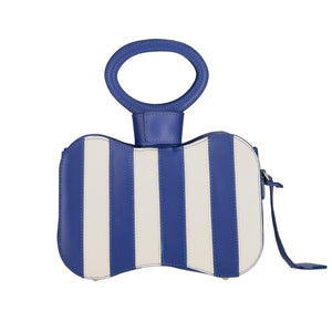 Venus blue stripes bag - bleu mix - front side