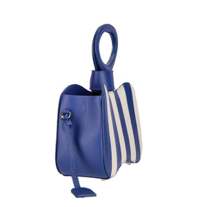 Venus blue stripes bag - bleu mix - side