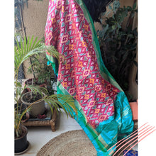 Load image into Gallery viewer, Green Silk Ikkat Dupatta