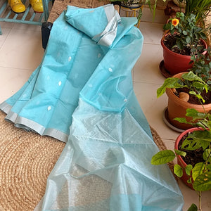 light blue Chanderi Saree
