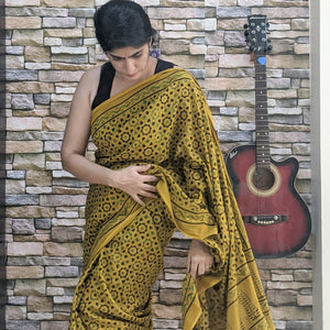 cotton Ajrakh saree