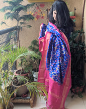 Load image into Gallery viewer, Blue Silk Ikkat Dupatta