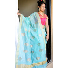 Load image into Gallery viewer, Turquoise Chanderi Zari