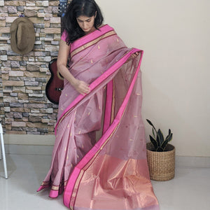 Lilac Chanderi Silk cotton