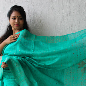 Green Silk Jamdani