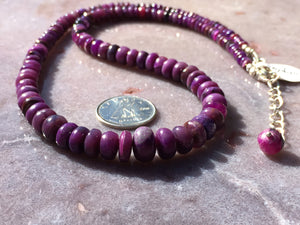 Sugilite strand with sterling silver findings