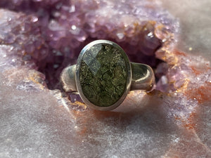 Moldavite ring half faceted size 8