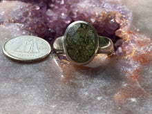 Load image into Gallery viewer, Moldavite ring half faceted size 8
