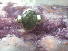 Load image into Gallery viewer, Moldavite ring  half faceted size 9