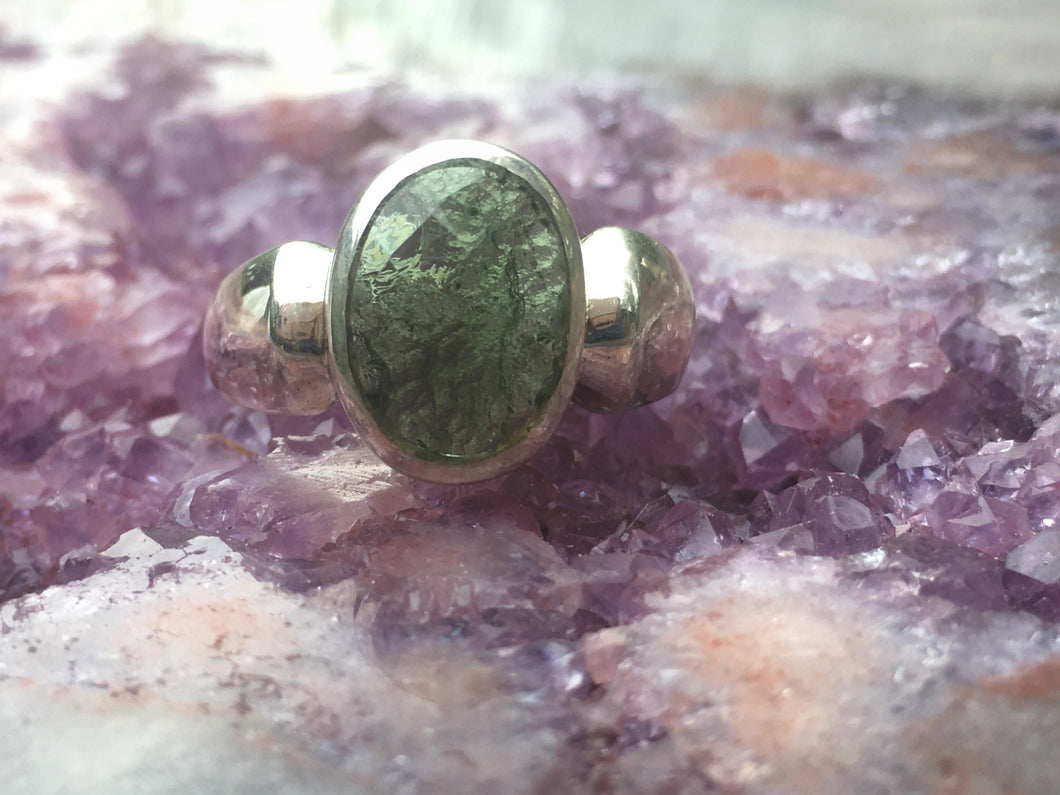 Moldavite ring  half faceted size 9