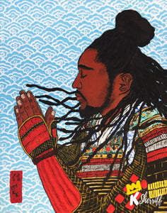 "Original Art Print, Black Samurai Artwork - ""Faith"""
