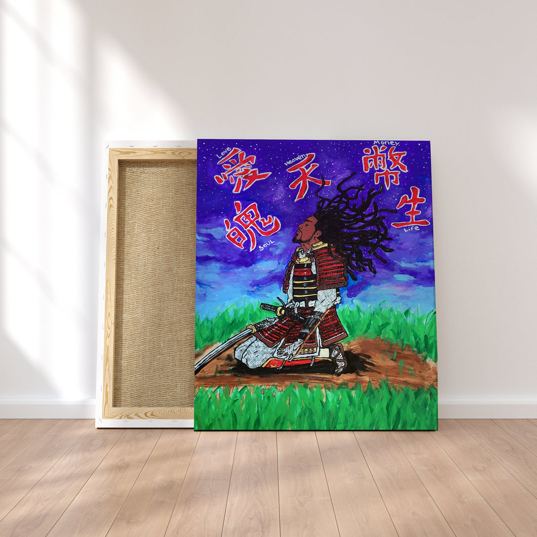 Original Art Print, Black Samurai Artwork -