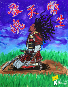 "Original Art Print, Black Samurai Artwork - ""Surrender"""