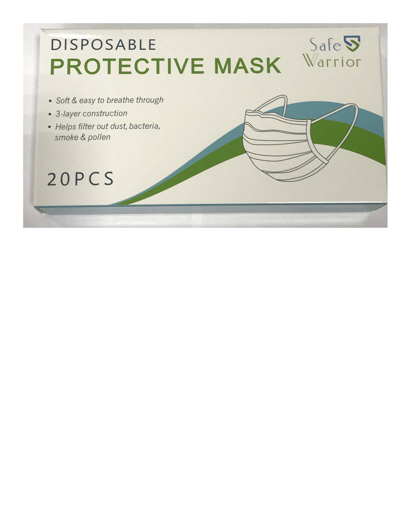 Safe Warrior - Disposable Protective Face Mask, 3 PLY (20 count) -1/BX