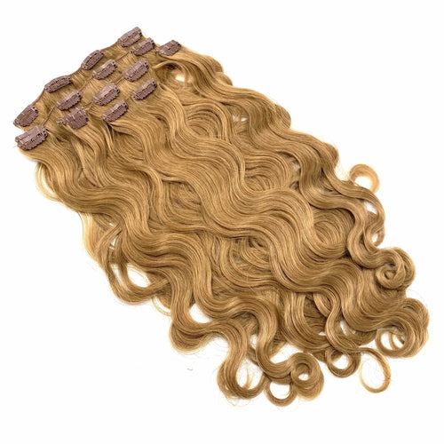 100% Remy Human Hair Clip Extensions/ Body Wave  18