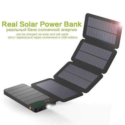 Image of Solar Power Bank 6W Solar Panel 10000mAh Real Solar Powerbank for iPhone X Samsung Galaxy Note