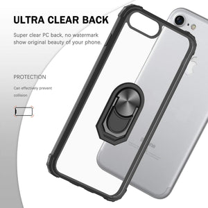 iPhone SE 2020 7 8 Military-Grade Clear Crystal Case with Tempered Glass Screen Protector