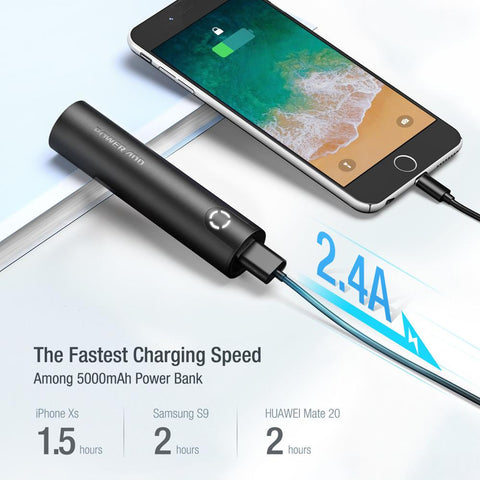 POWERADD EnergyCell 5000 High-Speed Charging Portable Charger, The Lightest 5000mAh Slim Power Bank with 2.4A Output A1