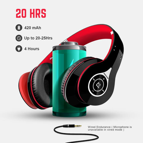 Wireless Bluetooth Noise Cancelling Headphones with Built-in Mic