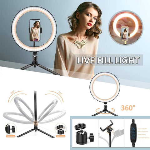 "The Perfect 10"" LED Photography Lighting Ring For Selfies"