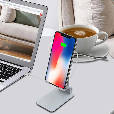 Image of Wireless Charging Cell Phone Lazy Bracket Portable Telescopic Folding Aluminum Alloy Charging Dock Station Holder