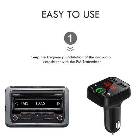 Handsfree Wireless Bluetooth FM Transmitter USB Charger