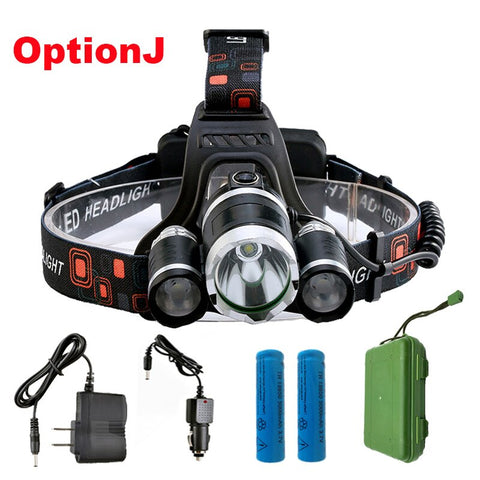ZK20 LED Headlamp High Lumens 4 Modes T6 18650 Rechargeable Battery Flashlight Waterproof Outdoor Lighting Camping Fishing