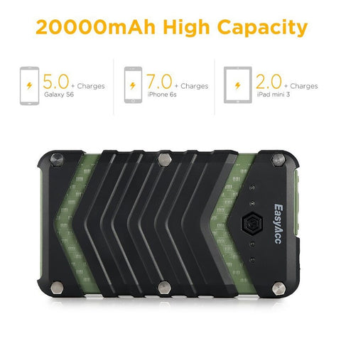 Image of 20000mAh Waterproof Power Bank 2USB Port with Flashlight