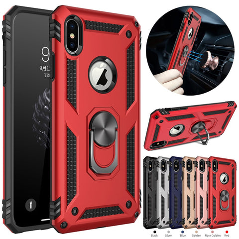 Image of iPhone X XS Max XR Case Dual Layer Armor Magnetic Ring Stand Case