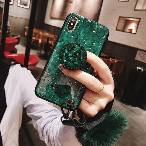 Image of iPhone 11 Pro X XR XS MAX 7 8 6s Plus Diamond Glitter Phone Case with Holder Ring