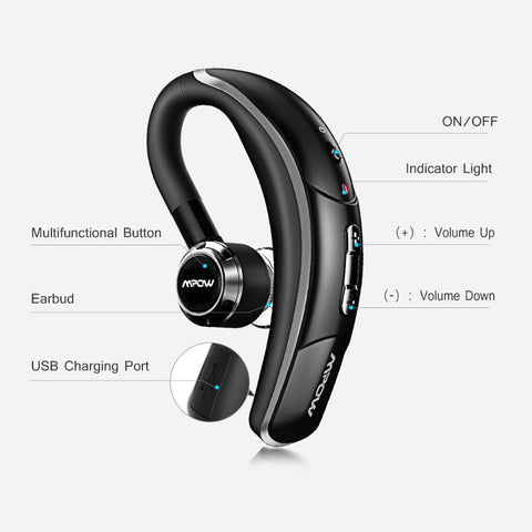 Wireless Earbud Bluetooth 4.1 Headset Single Headphone 6H Talking Time With Microphone Hands-Free Call For Car Driver