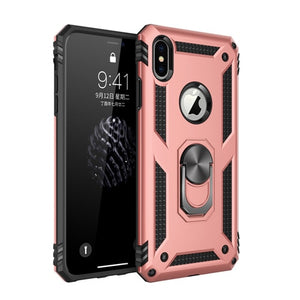 iPhone X XS Max XR Case Dual Layer Armor Magnetic Ring Stand Case