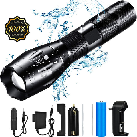 Waterproof LED Self Defense Tactical Flashlight