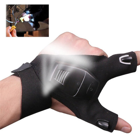 1PC Black Outdoor Cycling Fingerless Gloves LED Flashlight