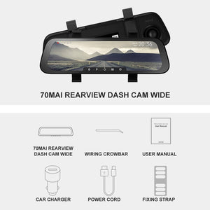 70mai 9.35 inches 1080P 130° Wide Angle Car media Dash camera Dual Lens Video Recorder
